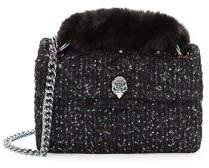 Kurt Geiger London Mini Kingston Tweed Faux Fur Crossbody