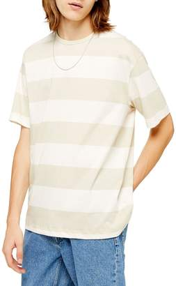 Topman Short Sleeve Oversized Stripe Crew Neck Tee