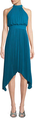 Aidan Mattox Pleated Halter Cocktail Dress w/ Banded Waist