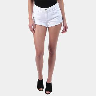 L'Agence Zoe Distressed Denim Short in Blanc