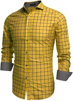 Coofandy Men's Fashion Long Sleeve Plaid Button Down Casual Shirts (, White)