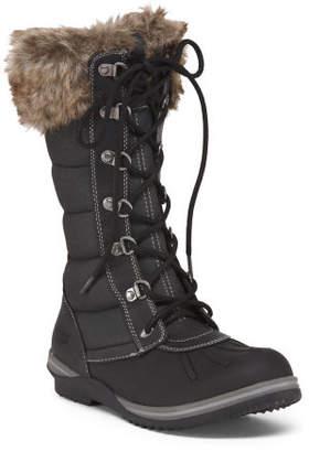 Faux Fur Waterproof Lace Up Boots