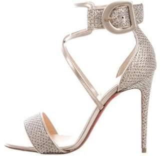 Christian Louboutin Choca Specchio Ankle Strap Sandals Silver Choca Specchio Ankle Strap Sandals