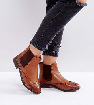 Dune London Dune Wide Fit Wide Fit Quentons Leather Chelsea Flat Ankle Boots