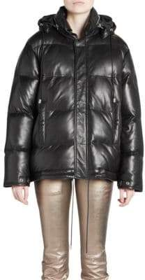 Saint Laurent Leather Down Puffer Jacket