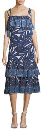 Alexis Faretta Square-Neck Mixed-Print Cotton Midi Dress