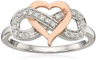 Sterling Silver/10K Rose Gold Over Round Diamond Heart Infinity Ring (1/6 cttw