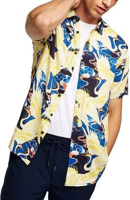 Topman Crane Print Woven Shirt