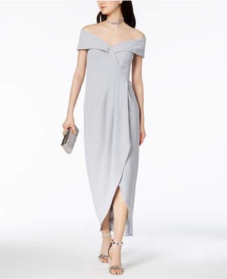 Xscape Evenings Off-The-Shoulder Tulip-Hem Gown