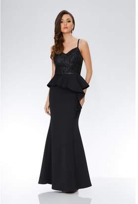 Quiz Black Strappy Sequin Embellished Peplum Maxi Dress