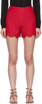 Valentino Red Crepe Stud Shorts