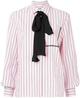 MSGM striped pussy-bow shirt