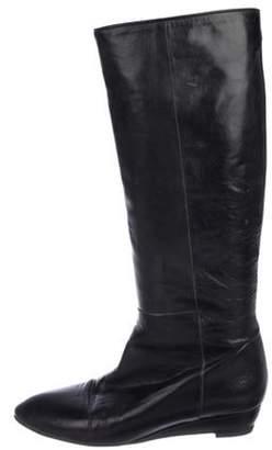 Loeffler Randall Leather Pointed-Toe Knee-High Boots Black Leather Pointed-Toe Knee-High Boots