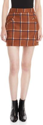 Wild Honey Brown Fleece Plaid Mini Skirt