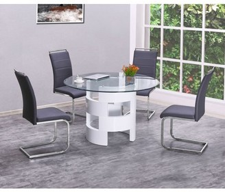 clear Best Quality Furniture 5pc Round Dining Set White Lacquer, Glass & Gray Chair