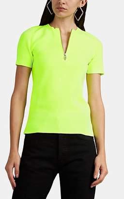 Helmut Lang Women's Rib-Knit Quarter-Zip Top - Green