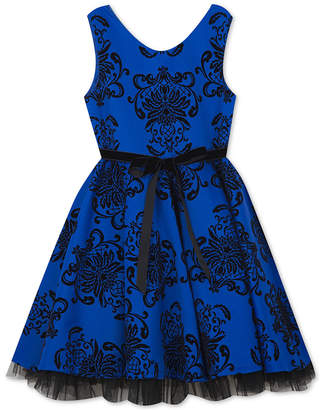 Rare Editions Big Girls Flocked Scuba Dress