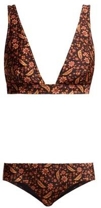 Zimmermann Juniper Floral Print Triangle Bikini - Womens - Black Print
