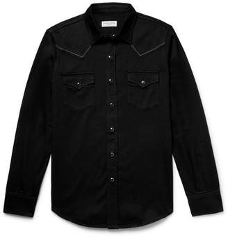 Saint Laurent Slim-Fit Embroidered Cotton-Twill Western Shirt - Black