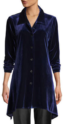 Caroline Rose Button-Front Long-Sleeve Stretch-Velvet Side-Fall Shirt, Petite