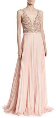 Jovani Sleeveless Gown w/ Beaded Bodice & Pleated Skirt