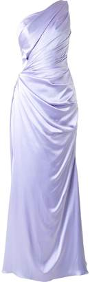 Romona Keveza one shoulder liquid satin gown