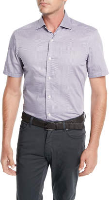 Ermenegildo Zegna Men's Woven Micro-Print Cotton Shirt