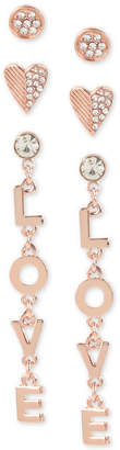BCBGMAXAZRIA BCBGeneration Rose Gold-Tone 3-Pc. Set Crystal Love Stud & Drop Earrings