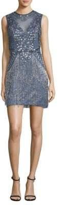 Aidan Mattox Sleeveless Beaded Fringe Dress