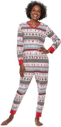 Cuddl Duds Women's Jammies For Your Families Polar Bear Fairisle Family Pajamas One-Piece Pajamas