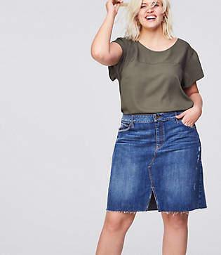 LOFT Plus Slit Denim Skirt