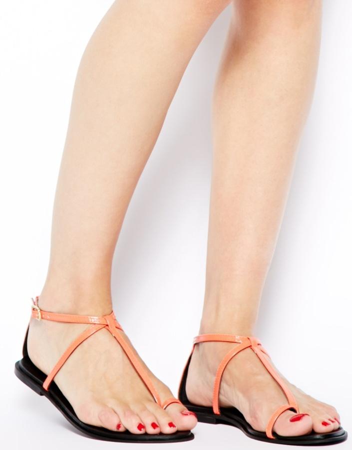 Asos FOOTLOOSE Leather Flat Sandals
