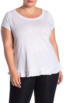 Susina Boatneck Short Sleeve Slub Knit Ruffle Trim Tee (Plus Size)