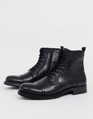 Jack and Jones lace up leather boot in black