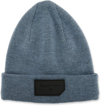 Bally Men's Logo-Patch Wool Beanie Hat, Blue