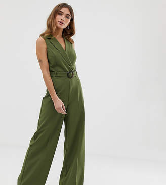52c7723dad7 Miss Selfridge Petite jumpsuit with belt in khaki