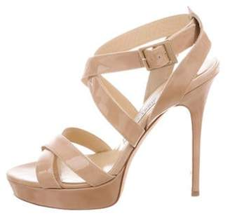 Jimmy Choo Patent Leather Crossover Strap Sandals Tan Patent Leather Crossover Strap Sandals