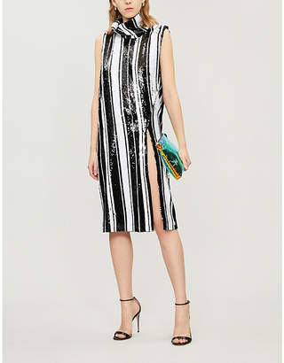Halpern Striped sequinned knee-length dress