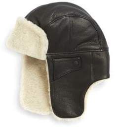 UGG Men's Shearling& Leather Trapper Hat - Black - Size L/XL
