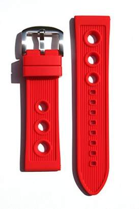 Breitling Toscana Rally Style 22mm RED Rubber/Silicone Replacement Watchband