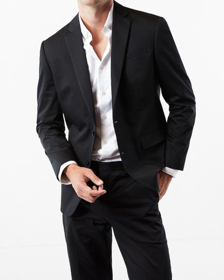 Express Classic Black Cotton Sateen Suit Jacket