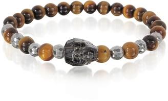 Swarovski Blackbourne Brown Tigers Eye Irregular Stone Men's Bracelet w/Gunmetal Crystal Skull