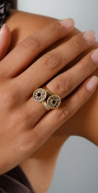 Rachel Leigh Estelle's Gold Rock Rings - Set of 2