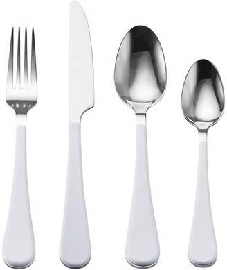 Gourmet Basics 16 Piece White Handle Flatware Set, Service for 4