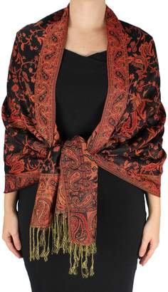Couture Peach Reversible Exclusive Paisley Pashmina Shawl Wrap
