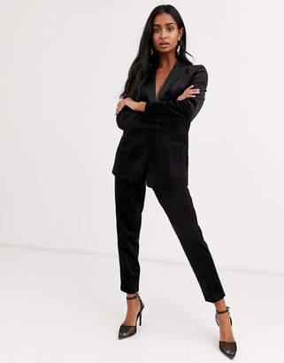 Asos Design DESIGN velvet tux suit slim pants in wine