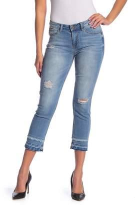 Kensie Vintage Slim Extended Fringe Hem Jeans