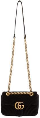 Gucci Black Velvet Mini GG Marmont 2.0 Bag