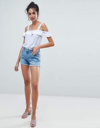Oasis Turn Up Rip Detail Denim Shorts