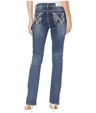 Grace in LA Mid-Rise Bootcut Aztec Jeans in Light Medium Blue